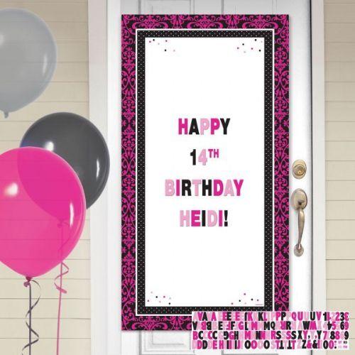 Black Pink Happy Birthday Personalise It Door Decoration Kits